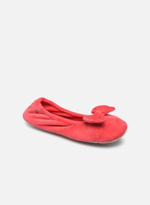 Chaussons Isotoner Ballerine velours grand nœud Rose vue détail/paire