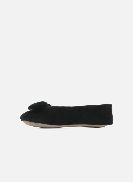 Pantoffels Isotoner Ballerine velours grand nœud Zwart voorkant