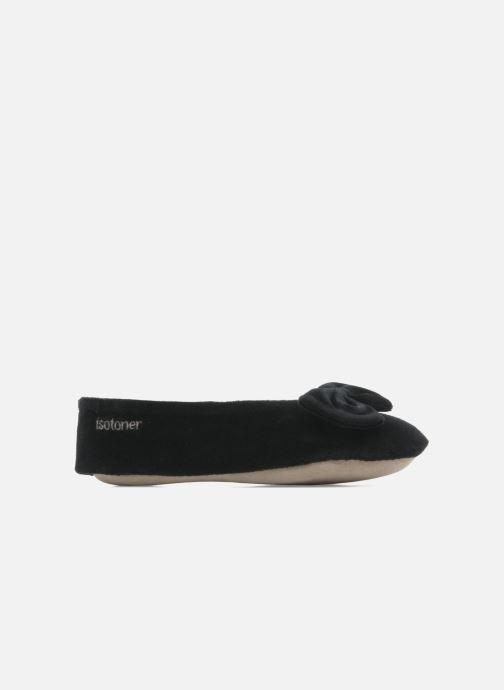 Pantoffels Isotoner Ballerine velours grand nœud Zwart achterkant