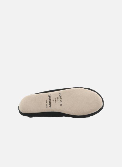 Pantoffels Isotoner Ballerine velours grand nœud Zwart boven