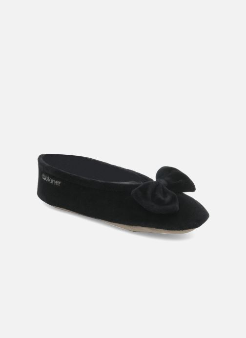 Chaussons Isotoner Ballerine velours grand nœud Noir vue détail/paire