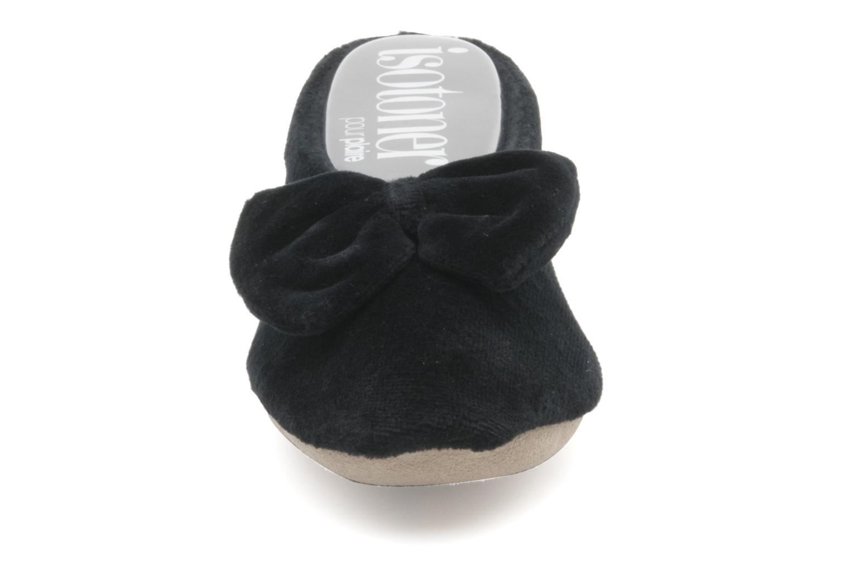 Chaussons Isotoner Ballerine velours grand nœud F Noir vue portées chaussures