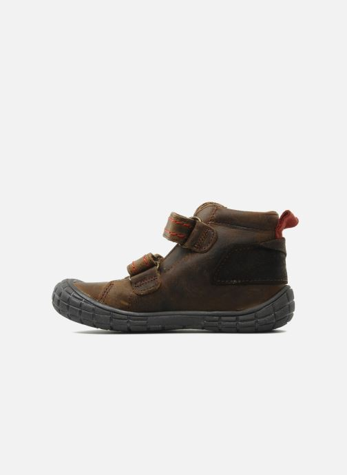 Zapatos con velcro Babybotte Aligator Marrón vista de frente