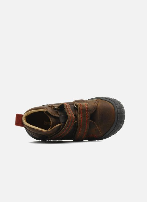 Velcro shoes Babybotte Aligator Brown view from the left