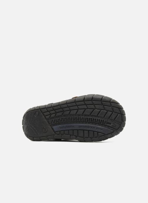 Zapatos con velcro Babybotte Aligator Marrón vista de arriba