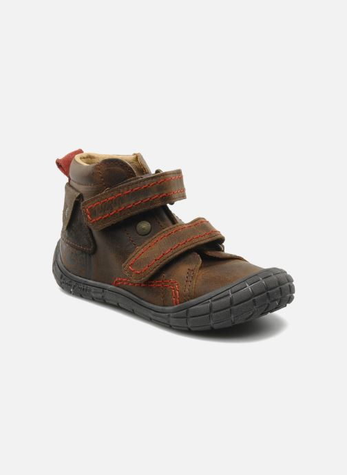 Velcro shoes Babybotte Aligator Brown detailed view/ Pair view