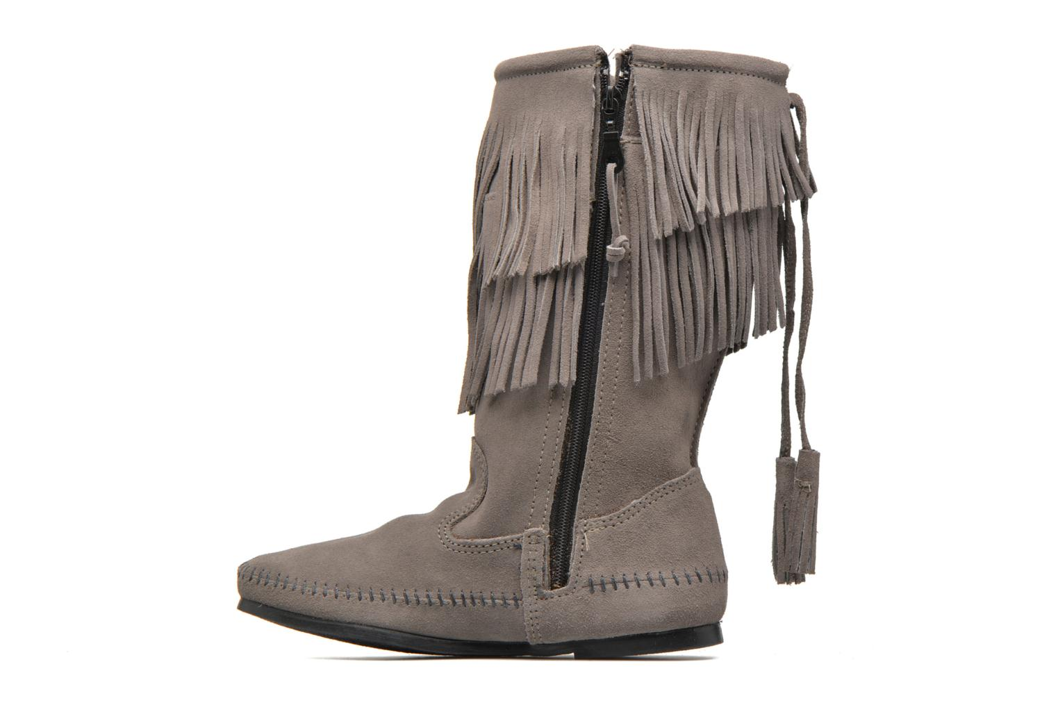 Bottines et boots Minnetonka CALF HI 2LAYER FRINGE Gris vue face