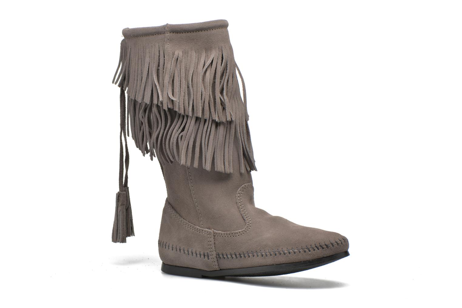 Bottines et boots Minnetonka CALF HI 2LAYER FRINGE Gris vue détail/paire