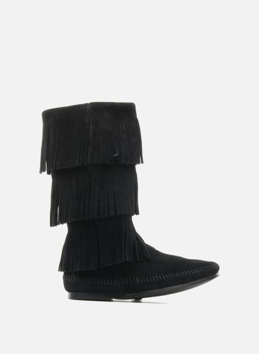 Bottines et boots Minnetonka 3 LAYER FRINGE BOOT Noir vue derrière