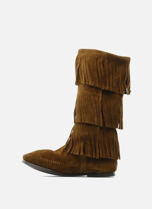 Bottes Minnetonka 3 LAYER FRINGE BOOT Marron vue face