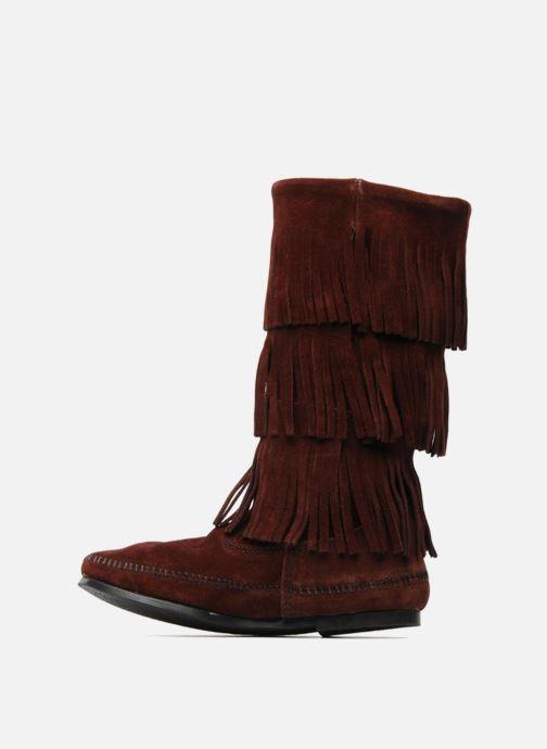 Bottines et boots Minnetonka 3 LAYER FRINGE BOOT Bordeaux vue face