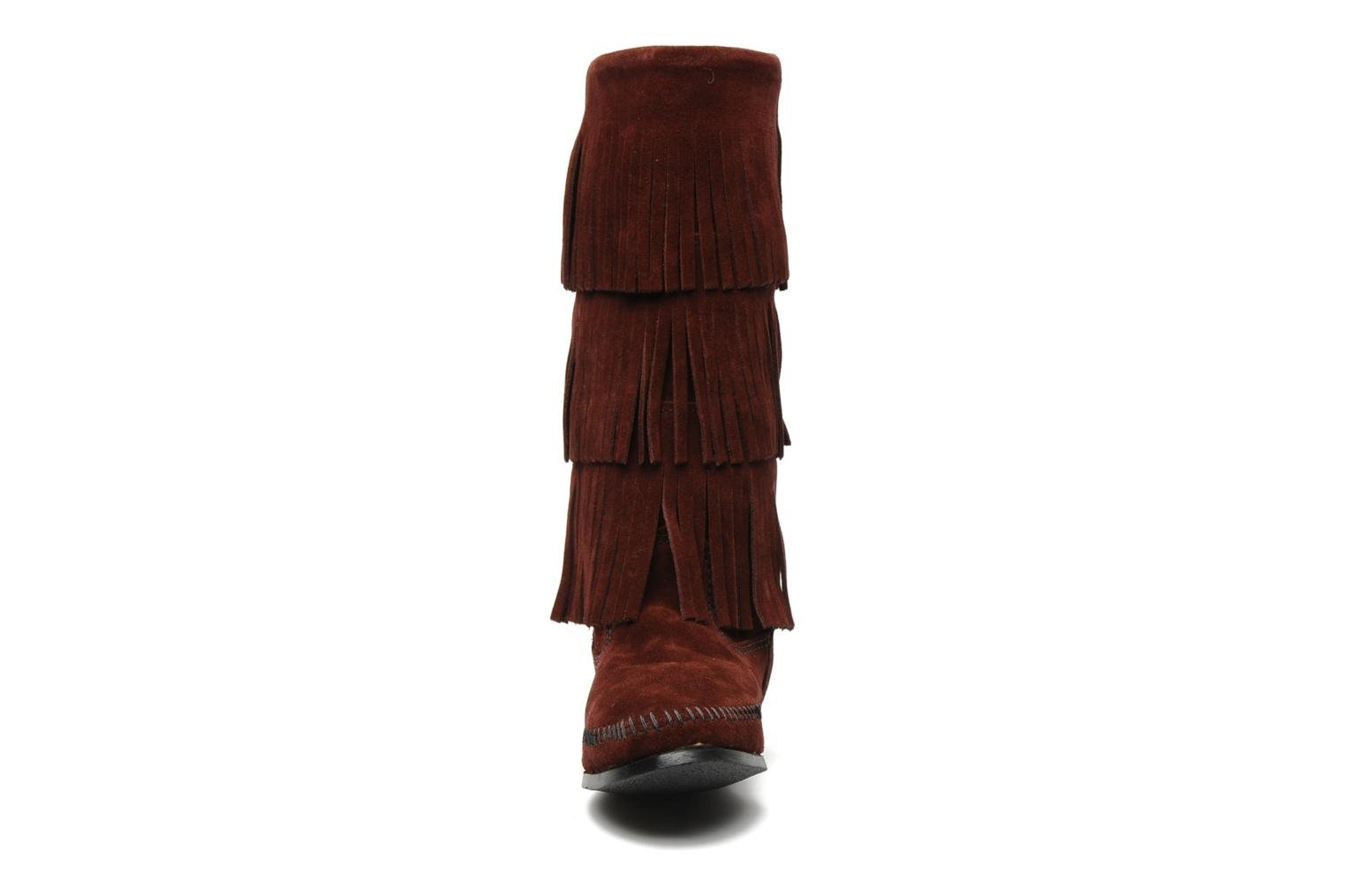 Boots en enkellaarsjes Minnetonka 3 LAYER FRINGE BOOT Bordeaux model