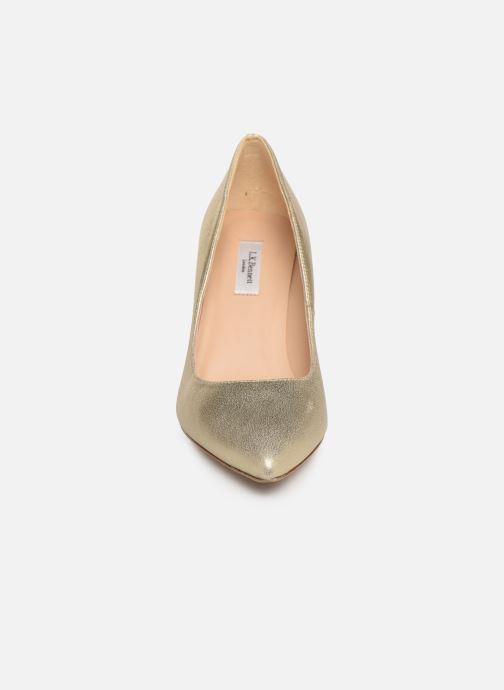 Escarpins L.K. Bennett Floret Or et bronze vue portées chaussures