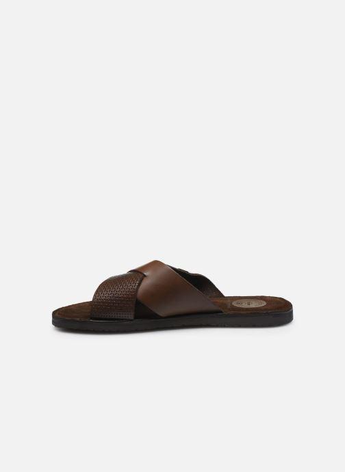 Sandales et nu-pieds Base London LEO Marron vue face