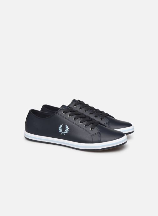 Baskets Fred Perry Kingston Leather Bleu vue 3/4