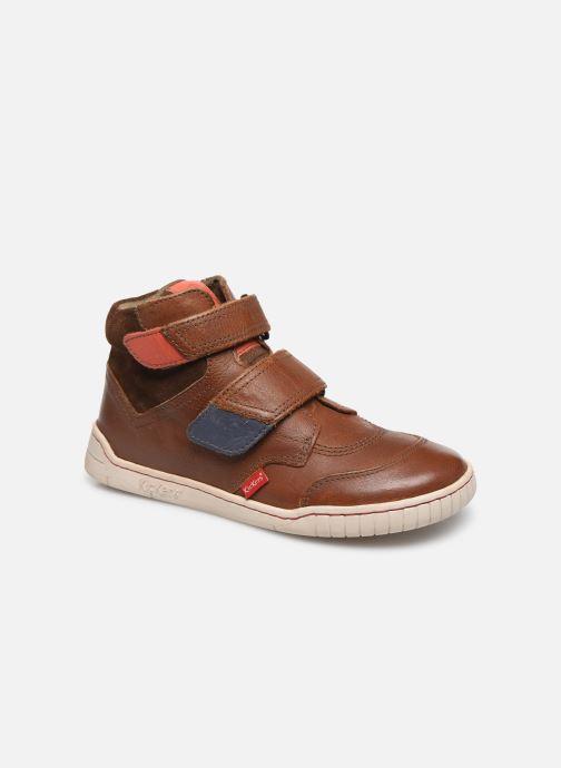 Schoenen met klitteband Kickers Winsor Bruin detail