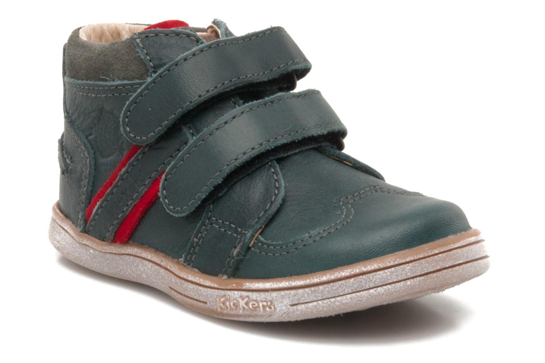 Sko med velcro Kickers TRAPEZE Grøn detaljeret billede af skoene