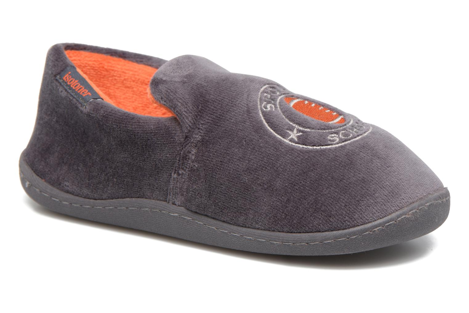 Slippers Isotoner Charentaise Velours Grey detailed view/ Pair view