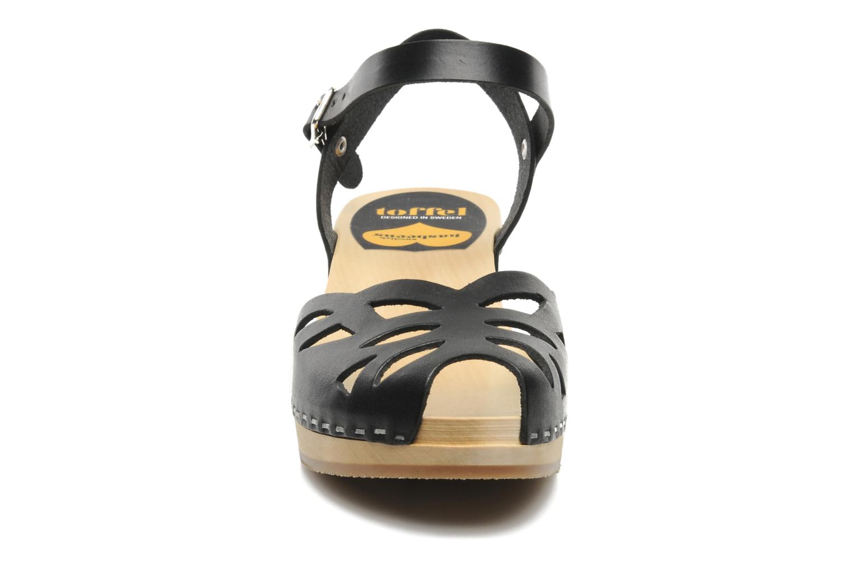 Sandals Swedish Hasbeens Ornament clog Black model view