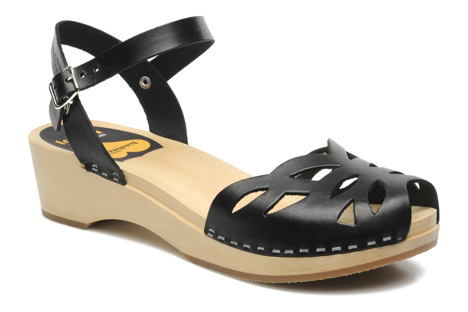 Sandals Swedish Hasbeens Ornament clog Black detailed view/ Pair view