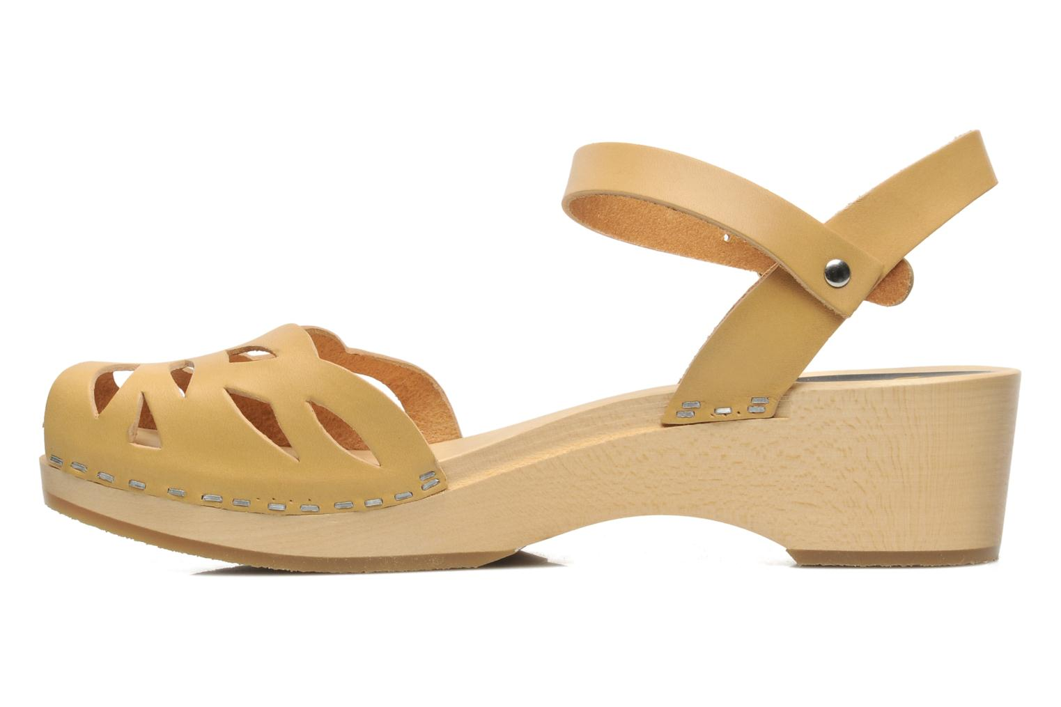 Sandals Swedish Hasbeens Ornament clog Beige front view