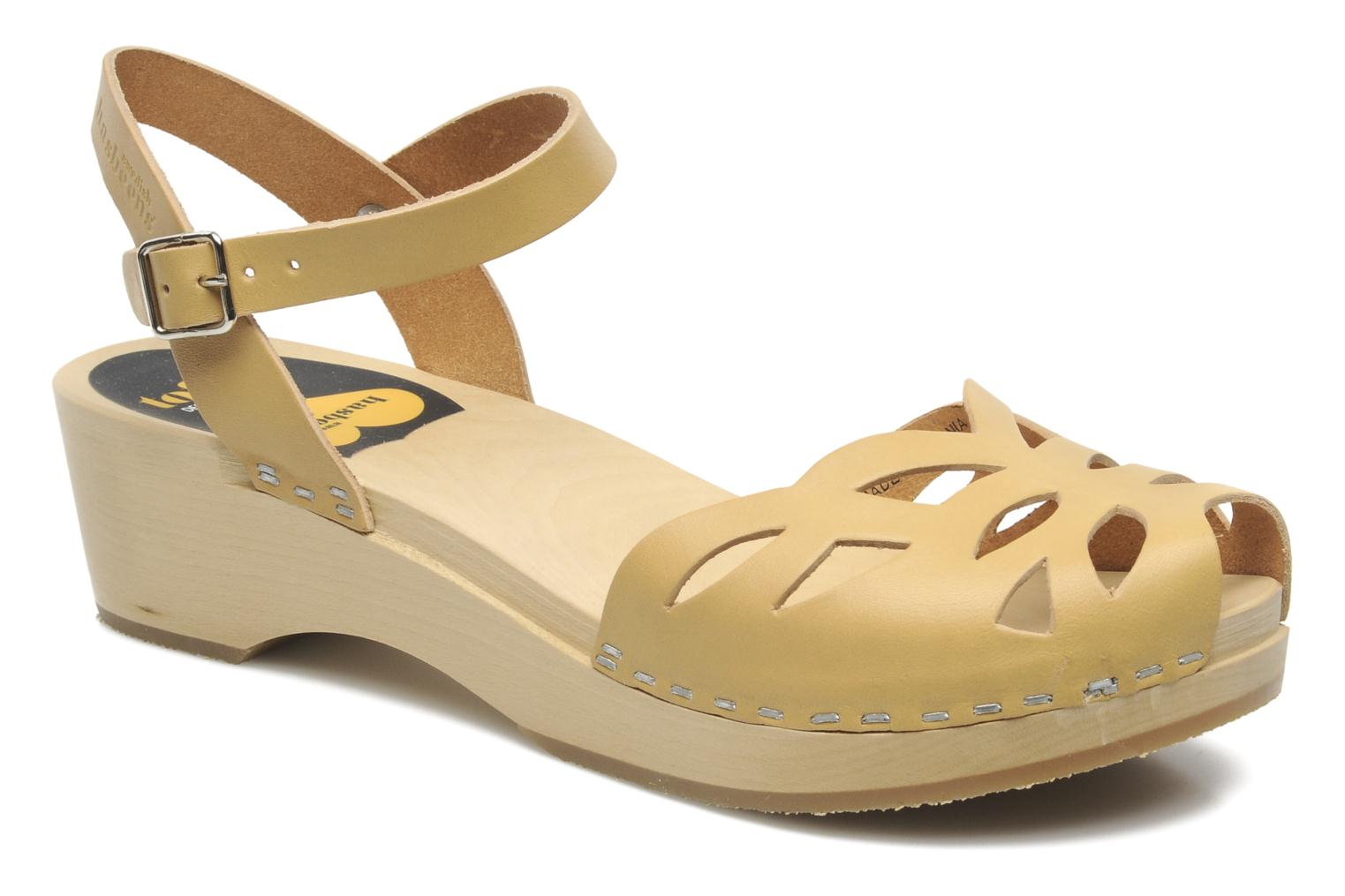 Sandals Swedish Hasbeens Ornament clog Beige detailed view/ Pair view