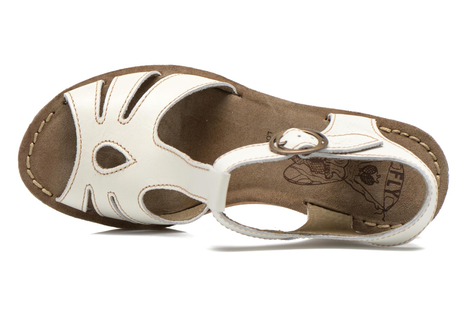 Sandals Fly London Gold White view from the left
