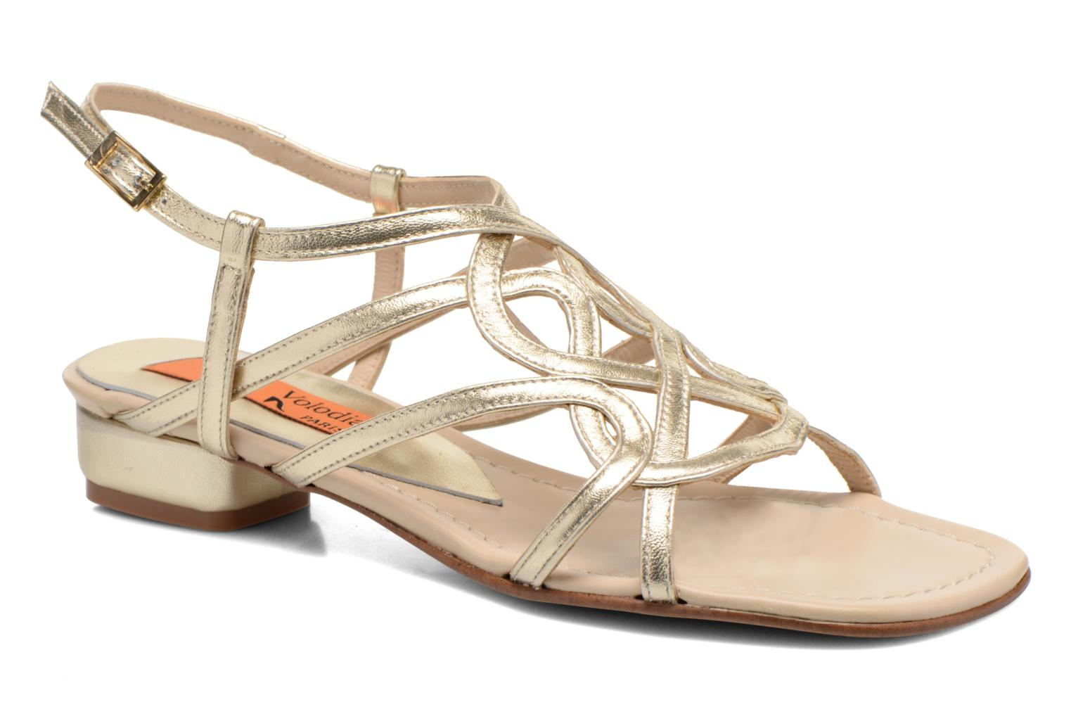 Sandals Anna Volodia Aplat Bronze and Gold detailed view/ Pair view