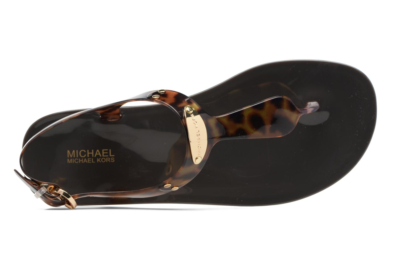 Sandalias Michael Michael Kors MK Plate Jelly Marrón vista lateral izquierda