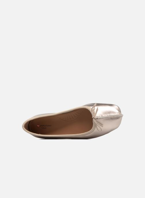 Ballet pumps Clarks Unstructured Freckle Ice Bronze and Gold view from the left