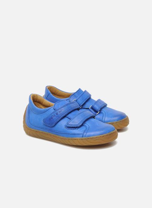 Baskets Pom d Api Woody Bi Velcro Bleu vue 3/4