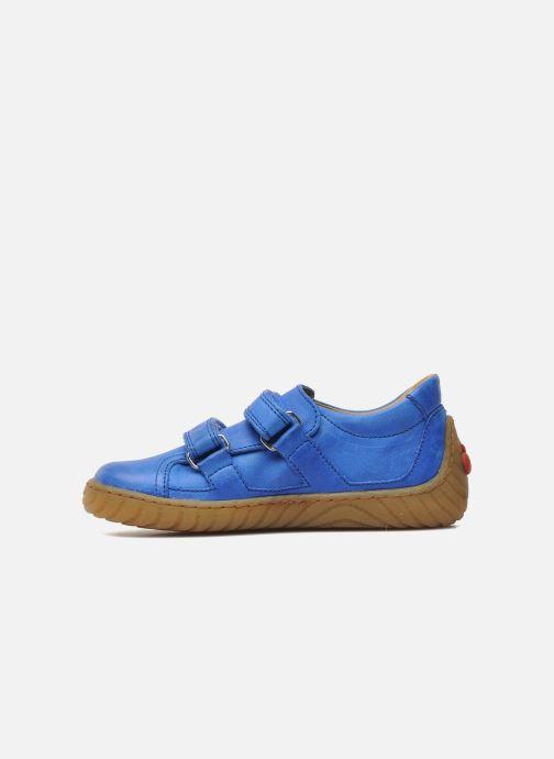 Baskets Pom d Api Woody Bi Velcro Bleu vue face