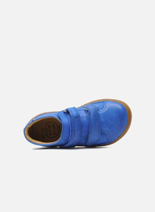 Sneakers Pom d Api Woody Bi Velcro Azzurro immagine sinistra