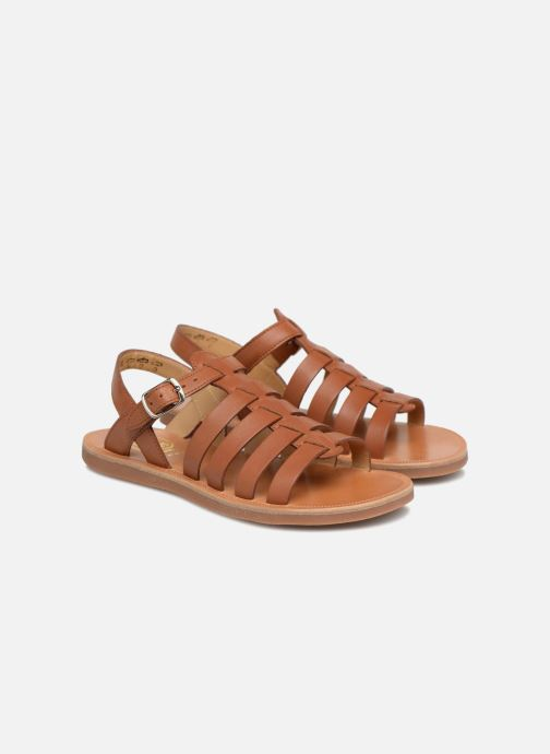Sandals Pom d Api Plagette Strap Brown 3/4 view