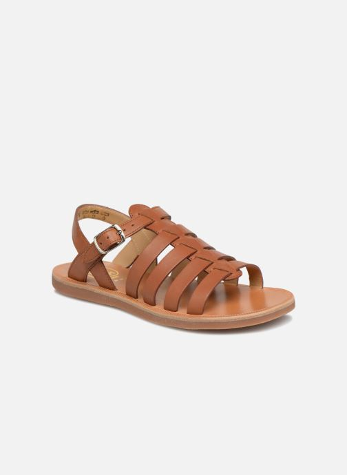 Sandals Pom d Api Plagette Strap Brown detailed view/ Pair view