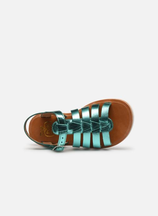 Sandals Pom d Api Plagette Strap Silver view from the left