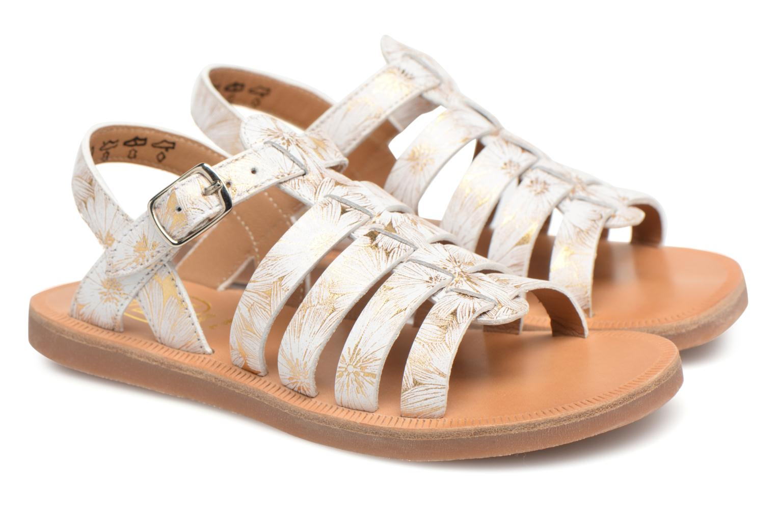 Sandals Pom d Api Plagette Strap White 3/4 view