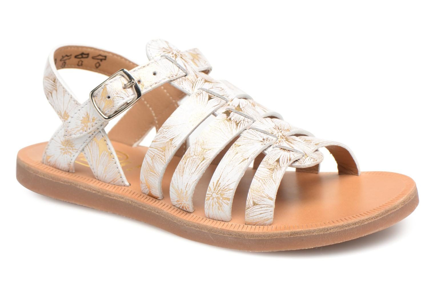 Sandals Pom d Api Plagette Strap White detailed view/ Pair view