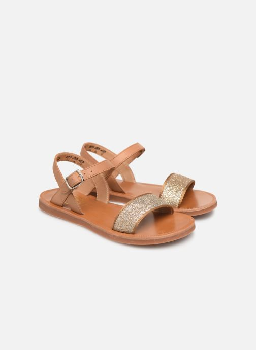 Sandals Pom d Api Plagette Buckle Tao Brown 3/4 view