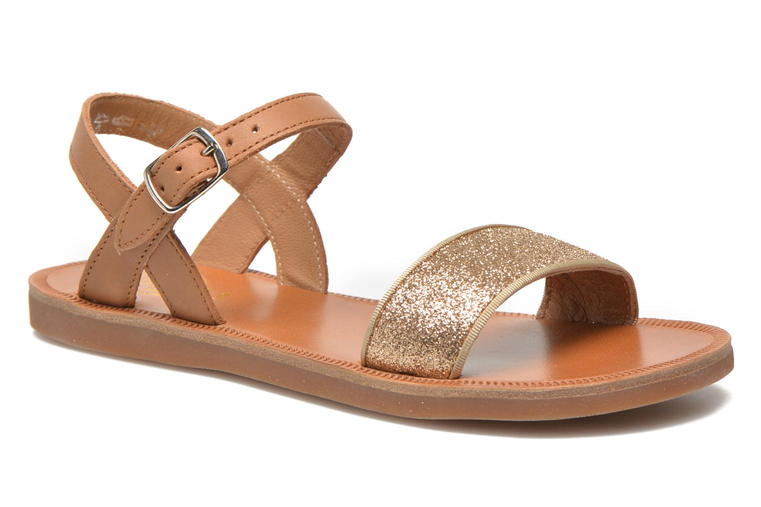 Sandals Pom d Api Plagette Buckle Tao Brown detailed view/ Pair view
