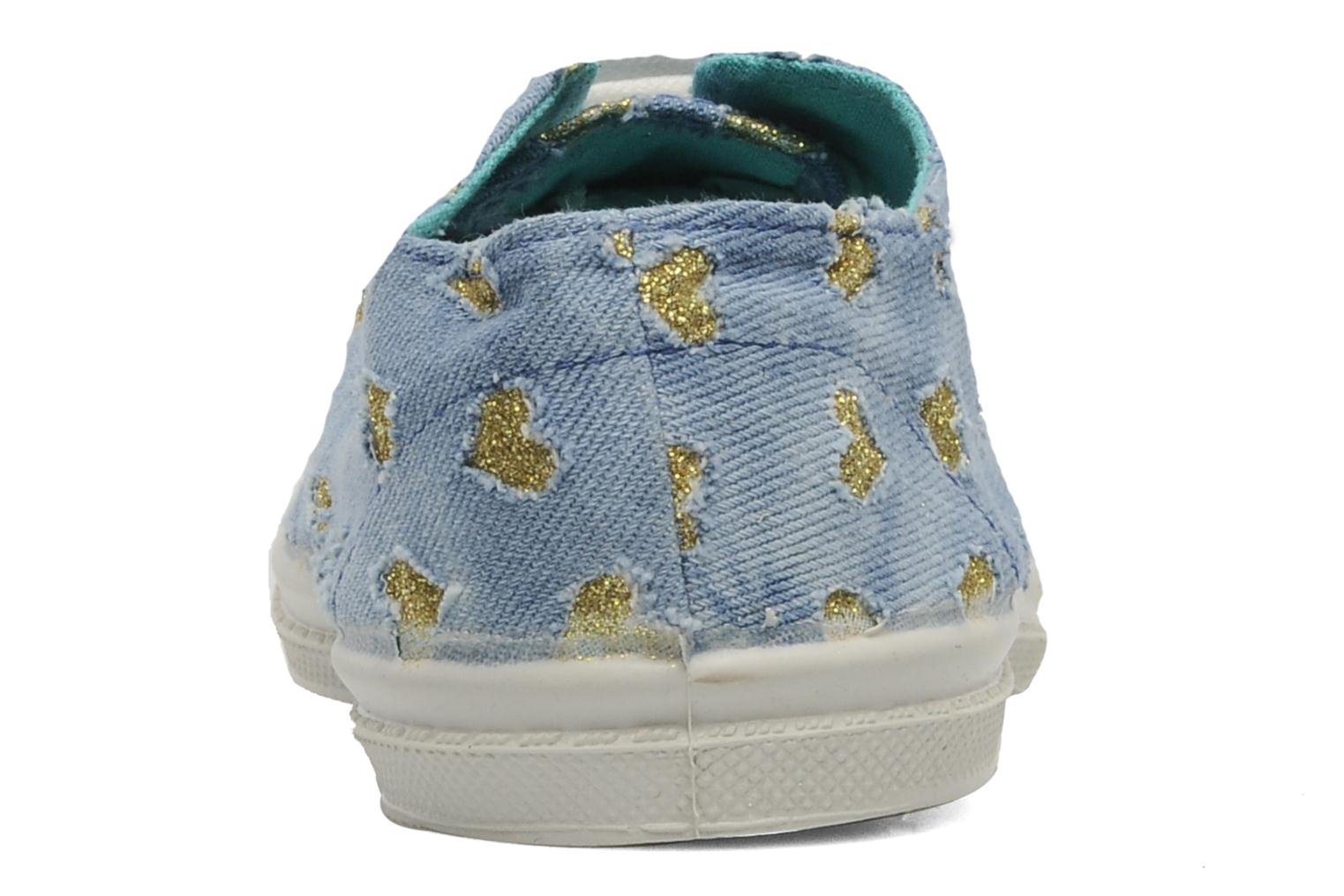 Baskets Bensimon Tennis Glitter Love E Or et bronze vue droite