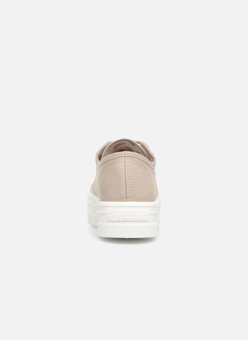 Sneakers Victoria Blucher Lona Plataforma Beige Se fra højre