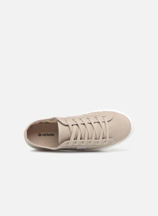 Sneakers Victoria Blucher Lona Plataforma Beige immagine sinistra