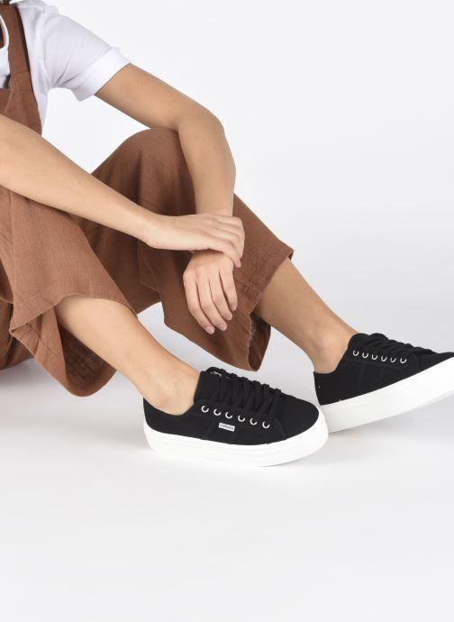 Sneaker Victoria Blucher Lona Plataforma schwarz ansicht von unten / tasche getragen