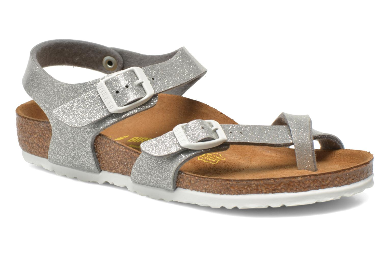 Sandals Birkenstock Taormina Birko-Flor Silver detailed view/ Pair view