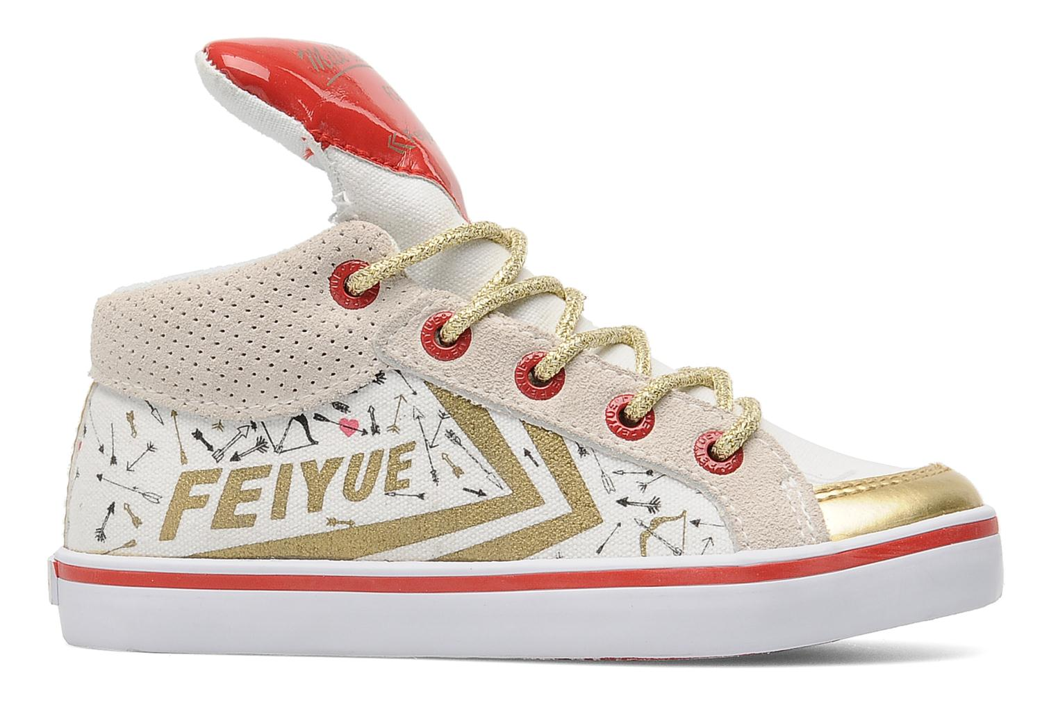 Baskets Feiyue Delta Mid Kid X Milkon The Rocks Blanc vue derrière