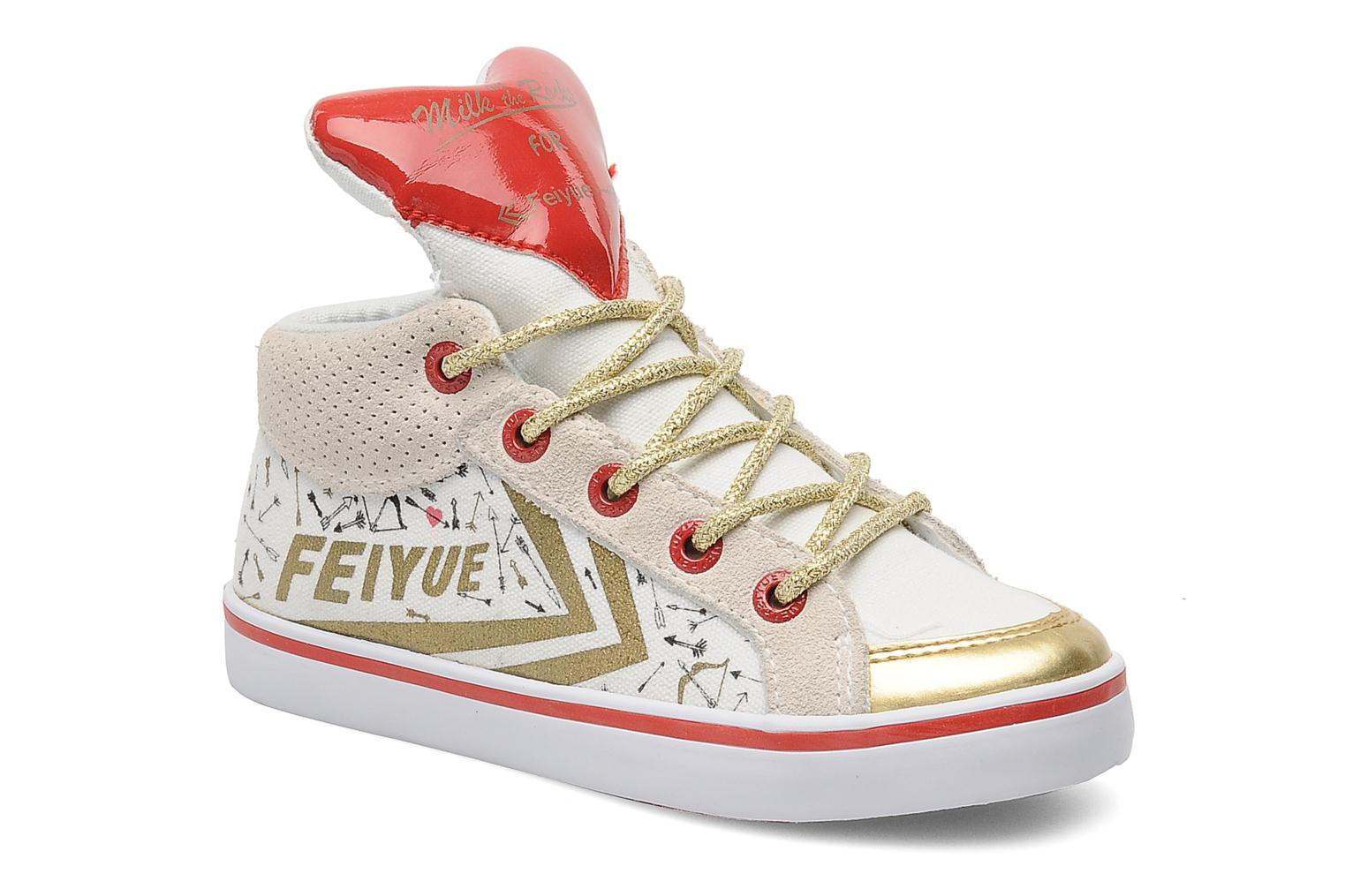 Baskets Feiyue Delta Mid Kid X Milkon The Rocks Blanc vue détail/paire
