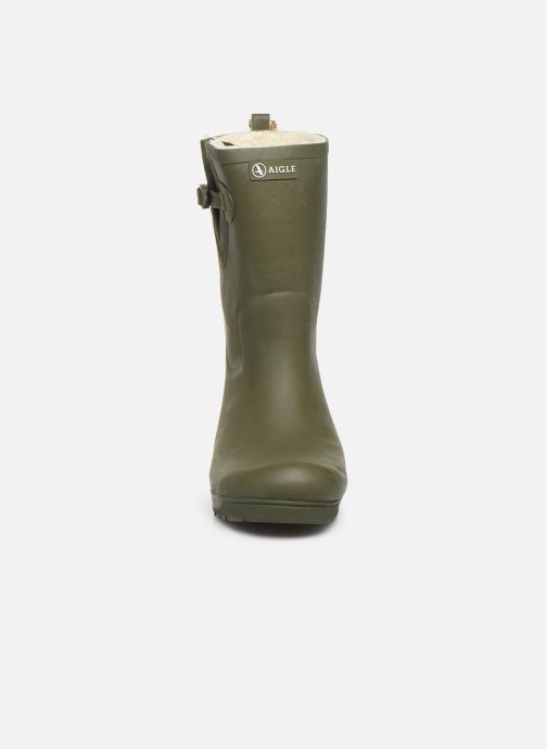 Bottes Aigle Woody Pop Fur Vert vue portées chaussures