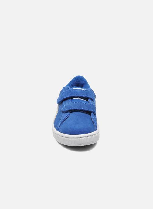Sneakers Puma Suede 2 Straps Kids Azzurro modello indossato