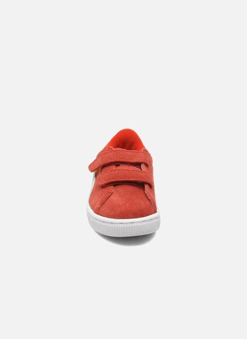 Baskets Puma Suede 2 Straps Kids Rouge vue portées chaussures